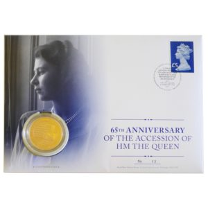 Queen's Sapphire Jubilee 2017 £5 Gold Proof Coin Cover 50pcs Mintage